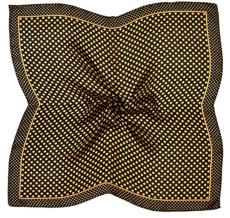 Bees Knees Fashion Yellow Black Spots Printed Small Square Fine Silk Scarf