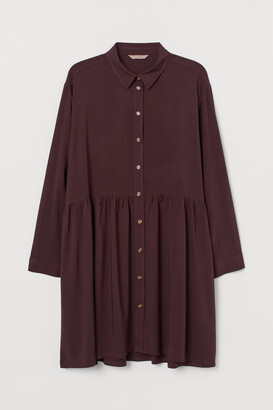 H&M H&M+ Airy Shirt Dress - Red