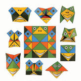 STUDY Toothpic Nations Set Of Ten Cochae Funny Face Origami Writing Paper