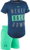 "Under Armour Baby Boy Never Back Down"" Bodysuit & Mesh Shorts Set"