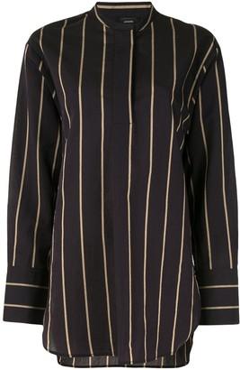 Joseph Striped Collarless Shirt