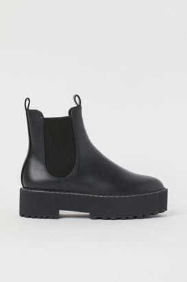 H&M Platform Chelsea-style Boots - Black