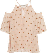 Temperley London Jolie Sequin-embellished Georgette Blouse - Baby pink