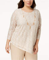 Alfred Dunner Plus Size Necklace Asymmetrical-Hem Top