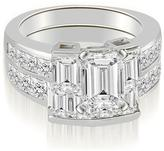 Ice 3 5/9 CT TW Channel Set Diamond Princess and Emerald Cut Bridal Set in 18K White Gold