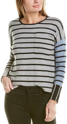 LISA TODD Mixed Stripe Pocket Cashmere-Blend Top