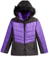 S. Rothschild Hooded Colorblocked Puffer Jacket with Faux-Fur Trim, Little Girls (2-6X)