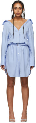 Alexander Wang Blue Shrugged Off Shirt Dress
