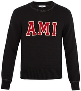 Ami Logo-appliqué crew-neck wool sweater