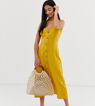 Asos DESIGN Petite maxi slubby cami swing dress with faux wood buttons-Yellow