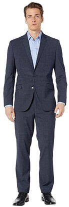 Kenneth Cole Reaction Graph Plaid Slim Fit Stretch Performance Suit (Grey Plaid) Men's Suits Sets