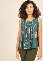 ModCloth Carefree Coach Sleeveless Top in Pine in 4X