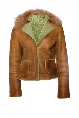 Pinko Brown Leather Coat for Women