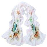 Leewa Women Butterfly Pattern Long Scarves Shawl Scarf (160 x 50cm, White)