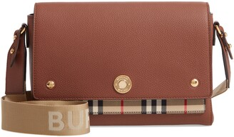 Burberry Medium Note Check & Leather Crossbody Bag