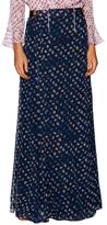 Diane von Furstenberg Bethune Silk Print Gathered Maxi Skirt