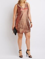 Charlotte Russe Plus Size Metallic Plunging Bodycon Dress