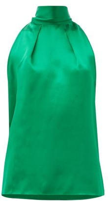 Saloni Michelle Halterneck Hammered Silk-satin Top - Green