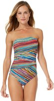 Anne Cole Women's Pick Up Stix Asymmetric Spliced Bandeau One Piece Swimsuit