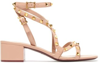 Valentino Rockstud Flair Leather Sandals - Womens - Nude
