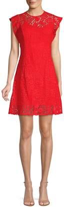 Michael Kors Ornate Mosaic Crochet A-Line Mini Dress