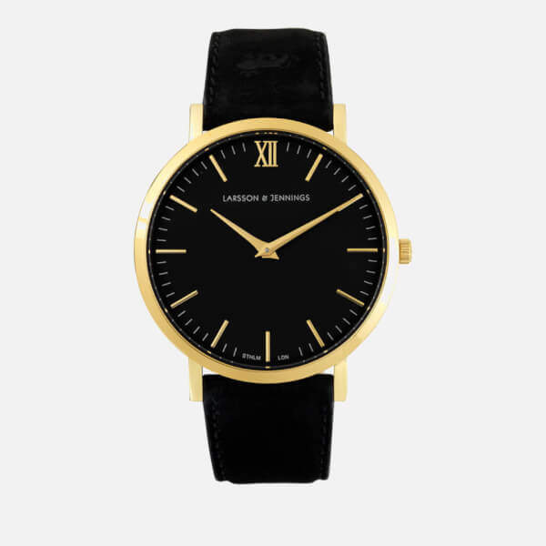Larsson & Jennings Lugano 40mm Leather Watch Gold/Black/Black