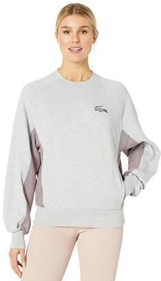 Lacoste Oversized Cotton Poly Fleece Sweatshirt w/ Tattersall Trim