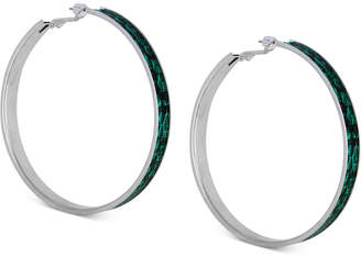 GUESS Large Silver-Tone Python-Print Hoop Earrings 2-1/2""