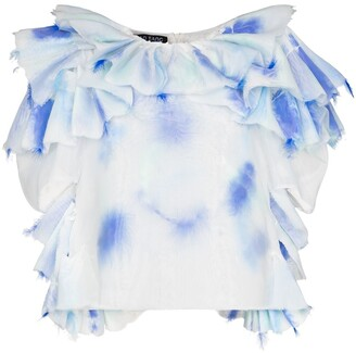 Susan Fang Ruffled Feather-Embellished Blouse