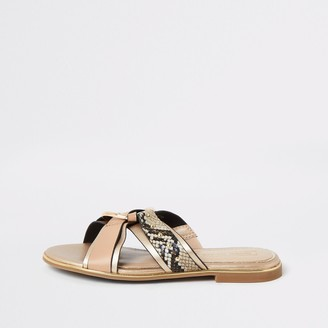 River Island Girls Brown snake printed cross over sandals