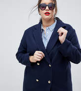 Helene Berman Plus Military Wool Blend Coat