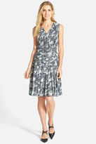 Halogen Belted Pleat Print Fit & Flare Dress (Petite)