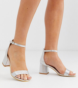 Simply Be wide fit diamante sandals with block heel in silver
