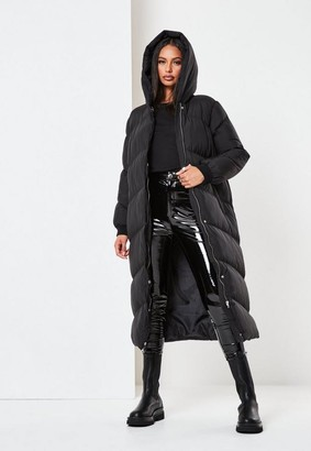 Missguided Tall Black Long Puffer Coat