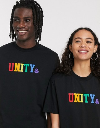 ASOS DESIGN x glaad& unisex t-shirt with unity logo in black