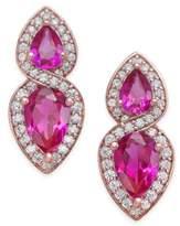 Macy's Certified Ruby (1-1/4 ct. t.w.) and Diamond (1/4 ct. t.w.) Drop Earrings in 14k Rose Gold