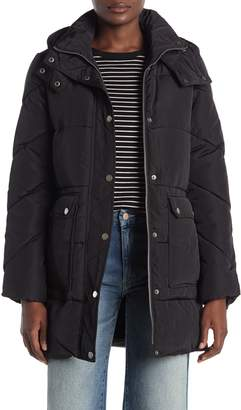 Lucky Brand Hooded Utility Pocket Zip Puffer Jacket