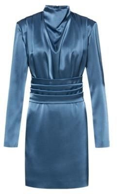 HUGO BOSS Lustrous long-sleeved dress with detachable belt