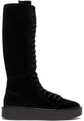 Colville - Velvet Lace-up Boots - Black