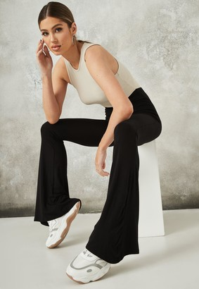 Missguided Black Jersey Flare Trousers