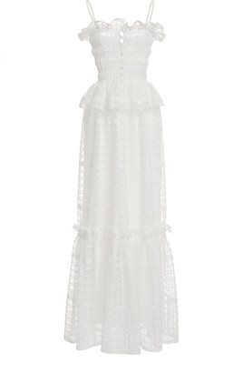 Philosophy di Lorenzo Serafini Lace-Trimmed Shirred Tulle Peplum Maxi Dress