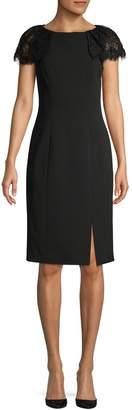 Eliza J Lace-Sleeve Knee-Length Sheath Dress