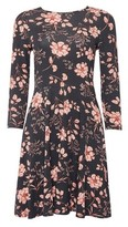 Dorothy Perkins Womens Dp Petite Multi Colour Floral Print Jersey Fit And Flare Dress