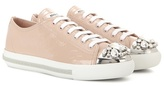 Miu Miu Crystal-embellished patent leather sneakers