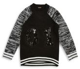 Poof Raglan-Sleeve Sequined Sweater