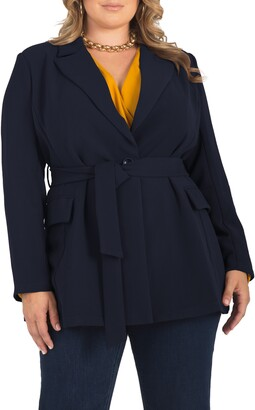 Standards & Practices Gina Belted Crepe Blazer