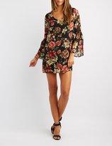 Charlotte Russe Floral Bell Sleeve Shift Dress