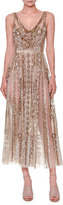 Valentino Sleeveless Sequined Tulle Gown, Nude/Gold