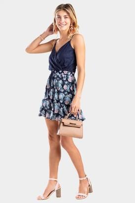 francesca's Becky Floral Lace Godet Dress - Navy