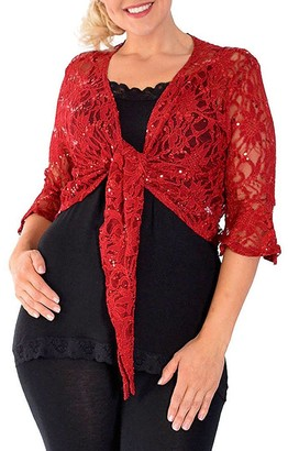 F4S Womens Plus Size Floral Lace Cropped 3 Quarter Short Sleeve Bolero Shrug Sequin Front Tie Fastening Top Cardigan 12-26 (UK - 16/18